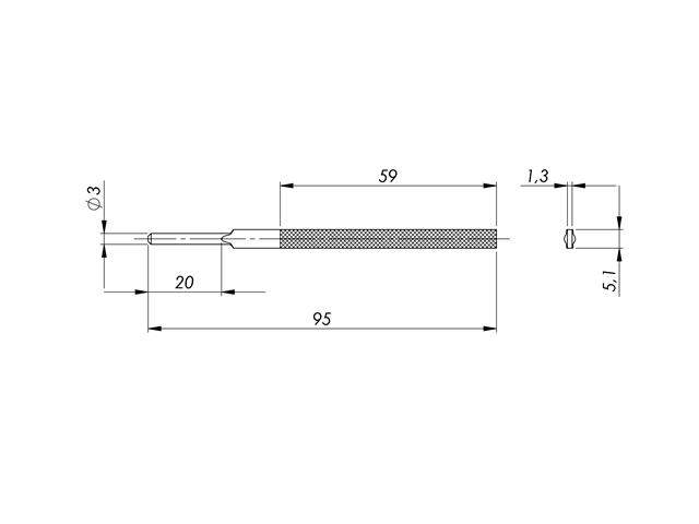 Lima in acciaio STL-1-1/P, 5,1x1,3mm, Taglio 1 - Gambo d. 3mm