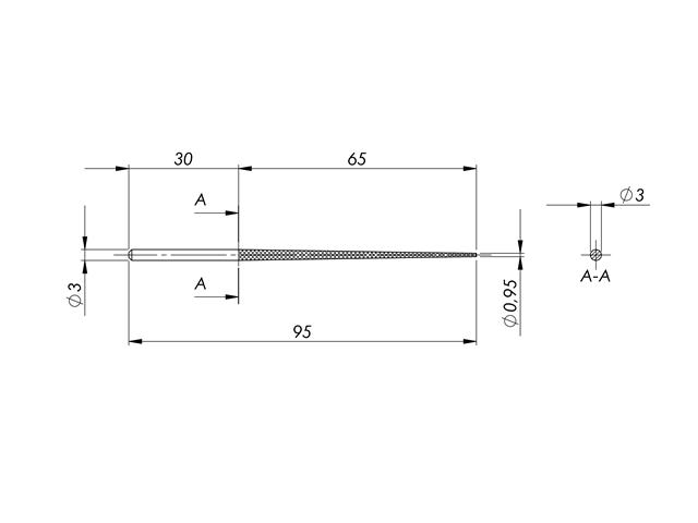 Lima in acciaio STL-2-1/P, d. 3mm, Taglio 1 - Gambo d. 3mm