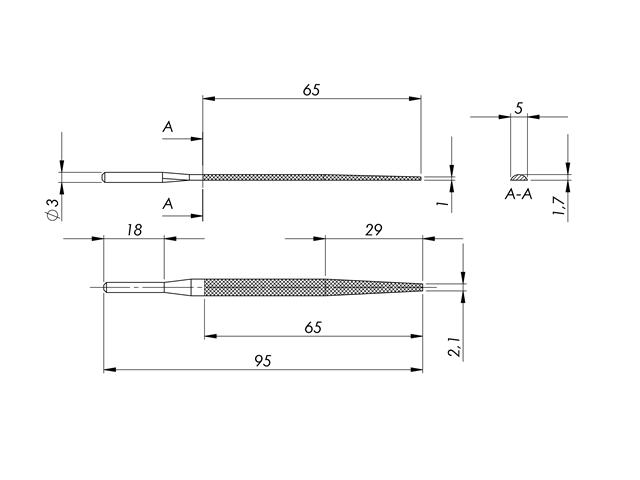 Lima in acciaio STL-3-1/P, 5x1,7mm, Taglio 1 - Gambo d. 3mm