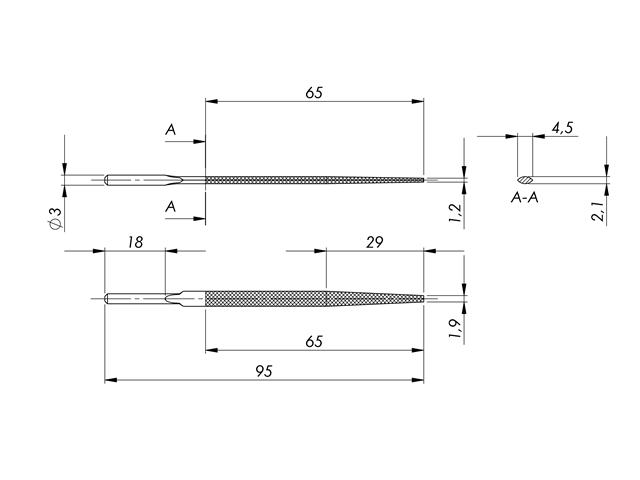 Lima in acciaio STL-4-1/P, 4,5x2,1mm, Taglio 1 - Gambo d. 3mm