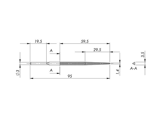 Lima in acciaio STL-5-1/P, 3,5x3,5x3,5mm, Taglio 1 - Gambo d. 3mm