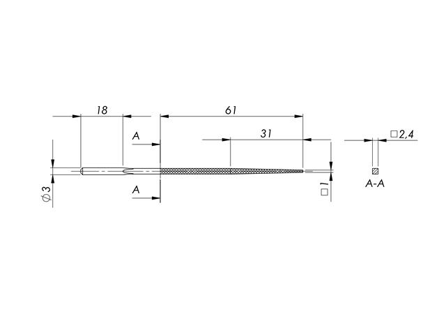 Lima in acciaio STL-6-1/P, 2,5x2,5mm, Taglio 1 - Gambo d. 3mm