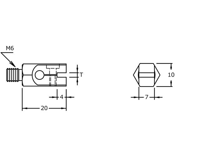 """Sostegno M6 """"T"""" 1,0mm MX-4010, Filetto M6 """"T"""" 1,0mm per UF9700"""