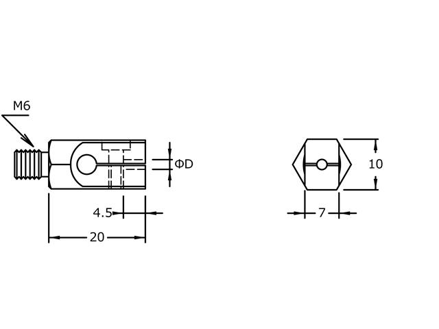 Sostegno M6 d. 3,0mm MX-1033, Filetto M6 d. 3,0mm - Per UF9700