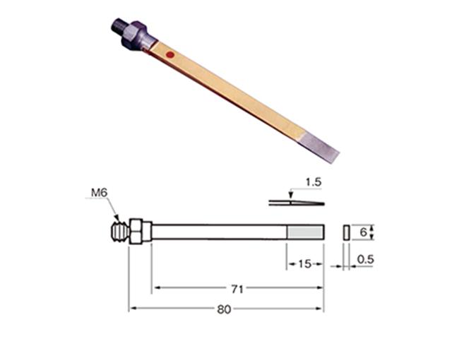 Lima 0,5x6,0x15mm con diamante sinterizzato, Grana 320 - Filetto M4