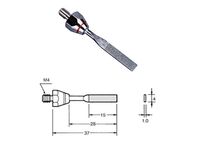 Lima 4,0x1,0x15mm con diamante elettrodepositato, Grana 200 - Filetto M4