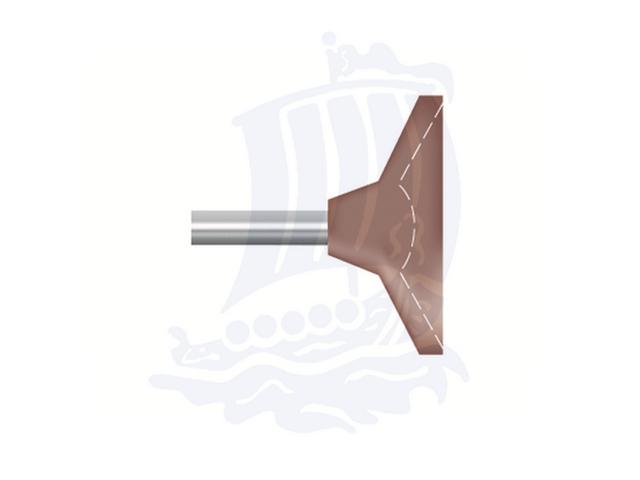 Mola rossa d. 19,0x6,3 lung. 38mm B81-Mesh, Grana 120 - Gambo d. 3,175mm - Conf. 12pz.