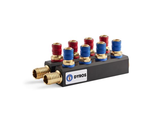 Manifold Serie 6, 4+4 raccordi (4pz. Rossi/4pz. Blu), flusso 6mm - Con portagomma d. 19mm