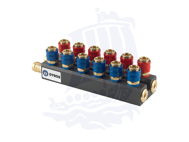 Manifold Serie 6, 10+10 raccordi (10pz. Rossi/10pz. Blu), flusso 6mm - Con portagomma d. 19mm