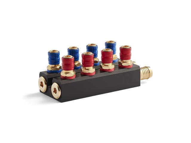 Manifold Serie 90, 4+4 raccordi (4pz. Rossi/4pz. Blu), flusso 9mm - Con portagomma d. 19mm